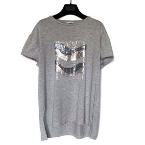 Zara Grey T with Sequins Size Small